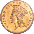 Three Dollar Gold Pieces, 1877 $3 AU58 NGC....