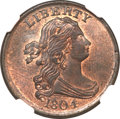 Half Cents, 1804 1/2 C Plain 4, No Stems MS65 Red and Brown NGC. C-13, B-10,R.1....