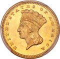 Gold Dollars, 1873 G$1 Open 3 MS67 PCGS. CAC....