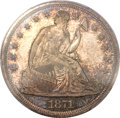 Proof Seated Dollars, 1871 $1 PR66 Cameo PCGS. CAC....