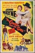 "Movie Posters:Comedy, A Lady Takes a Chance (Phoenix, R-1954). One Sheet (27"" X 41""). Comedy. Re-released as The Cowboy and the Girl. ..."