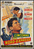 "Movie Posters:Hitchcock, Strangers on a Train (Warner Brothers, 1951). Trimmed Belgian (14""X 19.75""). Hitchcock.. ..."