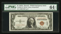 Small Size:World War II Emergency Notes, Low Serial Number C00001350C Fr. 2300 $1 1935A Hawaii Silver Certificate. PMG Choice Uncirculated 64 EPQ.. ...