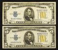 Small Size:World War II Emergency Notes, Fr. 2307 $5 1934A North Africa Silver Certificates. Two Examples. Fine-Very Fine or Better.. ... (Total: 2 notes)