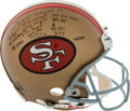 Football Collectibles:Helmets, 1998 Joe Montana Signed and Stat Inscribed Full Sized Authentic San Francisco 49ers Helmet....