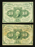 Fractional Currency:First Issue, Fr. 1242 10¢ First Issue Two Examples.. ... (Total: 2 notes)