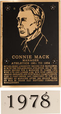 Baseball Collectibles:Others, 1978 Philadelphia Athletics Hall of Fame Plaque: Connie Mack....