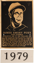 Baseball Collectibles:Others, 1979 Philadelphia Athletics Hall of Fame Plaque: Jimmie Foxx....