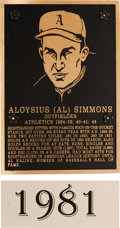 Baseball Collectibles:Others, 1981 Philadelphia Athletics Hall of Fame Plaque: Al Simmons....