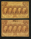 Fractional Currency:First Issue, Fr. 1281 25¢ First Issue Two Examples.. ... (Total: 2 notes)