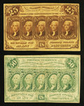 Fractional Currency:First Issue, Fr. 1281 25¢ First Issue XF-About New. Fr. 1312 50¢ First Issue Fine.. ... (Total: 2 notes)