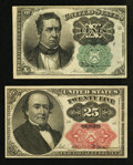 Fractional Currency:Fifth Issue, Fr. 1264 10¢ Fifth Issue VF-XF. Fr. 1309 25¢ Fifth Issue New.. ...(Total: 2 notes)
