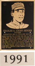 Baseball Collectibles:Others, 1991 Philadelphia Athletics Hall of Fame Plaque: Chief Bender....