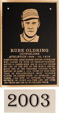 Baseball Collectibles:Others, 2003 Philadelphia Athletics Hall of Fame Plaque: Rube Oldring....