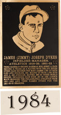 Baseball Collectibles:Others, 1984 Philadelphia Athletics Hall of Fame Plaque: Jimmy Dykes....