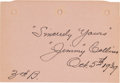 Autographs:Others, 1939 Jimmy Collins Signed Album Page....