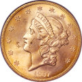 Liberty Double Eagles, 1857-S $20 MS64 PCGS. Variety 20B....