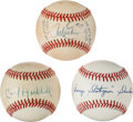 Baseball Collectibles:Balls, Erskine, Hubbell and Shuba Single Signed Baseballs Lot of 3....
