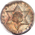Three Cent Silver, 1858 3CS MS66 PCGS. CAC....