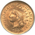 Indian Cents, 1908-S 1C MS65 Red PCGS Secure. CAC....