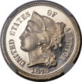 Proof Three Cent Nickels, 1876 3CN PR66 Ultra Cameo NGC. CAC....