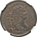 Half Cents, 1806 1/2 C Small 6, No Stems MS63 Brown NGC. C-1, B-3, R.1....