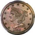 Proof Braided Hair Half Cents, 1856 1/2 C PR64+ Brown PCGS. CAC. B-3, R.4....