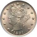 Liberty Nickels, 1891 5C MS66 PCGS. CAC....