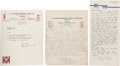 Autographs:Others, 1950's Baseball Stars Signed Letters & Index Cards Lot of75+....