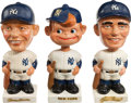 Baseball Collectibles:Others, 1961-63 Maris, Mantle and Yankees White Base Nodders Lot of 3....