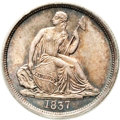 Seated Dimes, 1837 10C No Stars, Large Date MS65 PCGS. CAC....