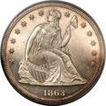 Proof Seated Dollars, 1863 $1 PR62 PCGS. CAC....