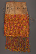American Indian Art:Beadwork and Quillwork, A GREAT LAKES BEADED HIDE DRAWSTRING POUCH...