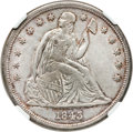 Seated Dollars, 1843 $1 MS61 NGC. CAC....