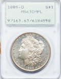 Morgan Dollars: , 1885-O $1 MS63 Prooflike PCGS. PCGS Population (772/846). NGCCensus: (472/919). Numismedia Wsl. Price for problem free NG...
