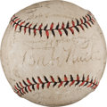 Autographs:Baseballs, 1932 New York Yankees & Chicago Cubs Signed Baseball with Ruth, Gehrig....