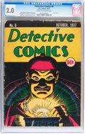 Platinum Age (1897-1937):Miscellaneous, Detective Comics #8 (DC, 1937) CGC GD 2.0 Cream to off-white pages....