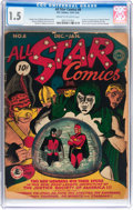 Golden Age (1938-1955):Superhero, All Star Comics #8 (DC, 1942) CGC FR/GD 1.5 Cream to off-white pages....