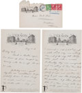 Miscellaneous Collectibles:General, 1931 Ellsworth Vines Handwritten Letter with Beating Fred PerryContent....