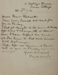 """Autographs:Authors, Journalist and Author Frank Harris Autograph Letter Signed""""Frank Harris"""". One page, 8"""" x 10.25"""", October 5, 1904.Harri..."""