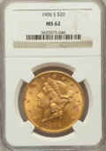 Liberty Double Eagles: , 1906-S $20 MS62 NGC. NGC Census: (1783/748). PCGS Population(1706/1359). Mintage: 2,065,750. Numismedia Wsl. Price for pro...