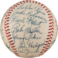 Autographs:Baseballs, 1955 Brooklyn Dodgers Team Signed Baseball with Team Letter, PSA/DNA NM+ 7.5....