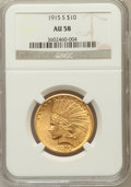 Indian Eagles, 1915-S $10 AU58 NGC. NGC Census: (158/119). PCGS Population(90/130). Mintage: 59,000. Numismedia Wsl. Price for problem fr...