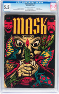Golden Age (1938-1955):Horror, Mask Comics #1 (Rural Home , 1945) CGC FN- 5.5 Off-white to whitepages....