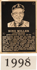 Baseball Collectibles:Others, 1998 Philadelphia Athletics Hall of Fame Plaque: Bing Miller....