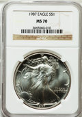 Modern Bullion Coins, 1987 $1 Silver Eagle MS70 NGC. NGC Census: (347). PCGS Population(10). Mintage: 11,442,335. Numismedia Wsl. Price for prob...