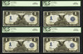 Large Size:Silver Certificates, Fr. 233 $1 1899 Silver Certificate Cut Sheet of Four PCGS Gem New65PPQ, 65PPQ, 65PPQ, 63PPQ.. ... (Total: 4 notes)