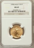Modern Bullion Coins, 1998 G$10 Quarter-Ounce Gold Eagle MS69 NGC. NGC Census: (569/18).PCGS Population (691/17). Numismedia Wsl. Price for pro...