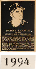 Baseball Collectibles:Others, 1994 Philadelphia Athletics Hall of Fame Plaque: Bobby Shantz....