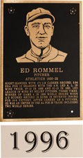 Baseball Collectibles:Others, 1996 Philadelphia Athletics Hall of Fame Plaque: Eddie Rommel....